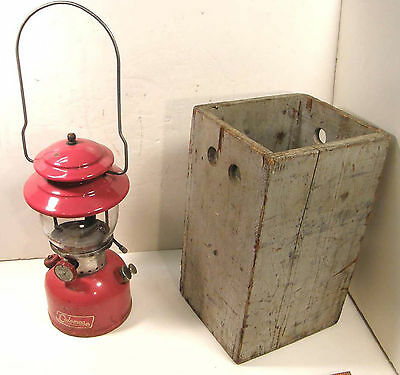 Vintage 1966 Coleman Red Single Mantle Camping Cabin Lantern W/wooden Case