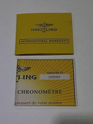 Authentic Breitling International Warranty Booklet & Matching COA Papers for B01