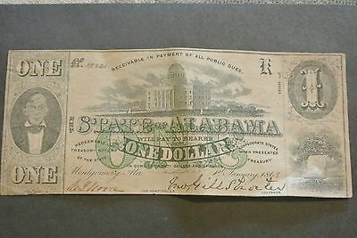 State of Alabama Conferderate One Dollar Note 1863