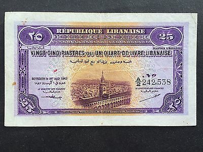 Lebanon 25 Piastres P36 Dated 1st August 1942 Pressed VF