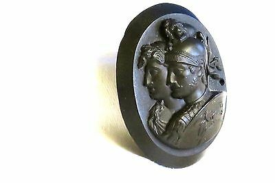 Large Vulcanite Double Cameo Brooch