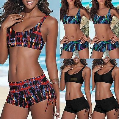 Ladies Push Up Padded Bikini Set Bandeau Bandage Swimwear Women Shorts Swimsuit