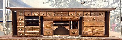 Antique ROLL TOP DESK INSERT CUBBY DRAWERS ORGANIZER LETTER SLOTS ROLLTOP OLD