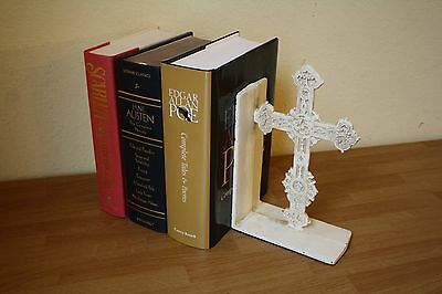 Cast Iron White Cross Christian Medieval Roman Catholic Gothic Bookend Door Stop