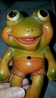 "Vintage Rempel Rubber toy Froggy Gremlin  Akron Ohio Frog character 6"" tall"