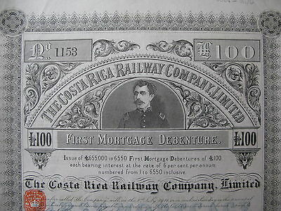 1886 THE COSTA RICA RAILWAY COMPANY LIMITED First Mortgage Debenture GBP £100