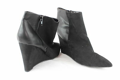 Ladies Wedge Ankle Boots Suede Leather Zip Womens Size 9 UK Pointed Toe Fashion