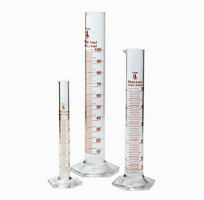 Glass Beaker Measuring Graduated Lab Scientific Cylinder 3 Piece Set 10,50,100ml