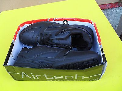airtech black trainers leather uppers wide fit size 11 unused in box (no lid)