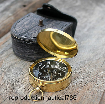 Nautical Shiny Brass Camping Compass With Leather Case Marine Navigation Compass