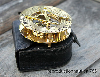 Collectible Maritime Solid Brass Working Sundial Compass With Leather Case Gift