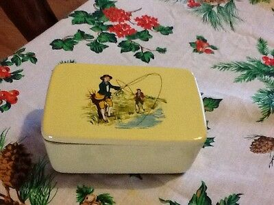 Antique Fly Fishing Picture pottery dish With Lid