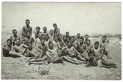 Vintage photo Bulgarian young men boys swim trunks postcard gay int. 1920-30s #2
