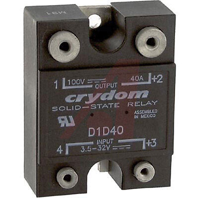Crydom D1D40 Solid State Relay 1.6mA/5VDC 28mA/32VDC Input 40A 100VDC Output