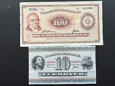 Denmark 10 & 100 Kroner P44 P46 Dated 1973 1970 Replacement Star Note OJ