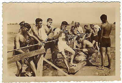 Vintage photo Bulgarian soldiers young men boys swim trunks 1920-30s gay int. #3