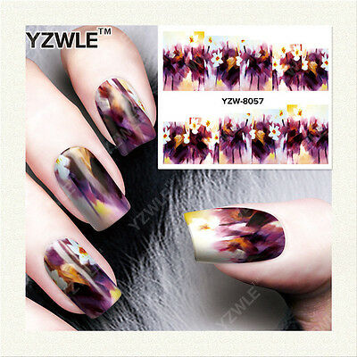 Nail Art Water Decals Stickers Transfers Deep Purple Yellow Flowers Gel Polish