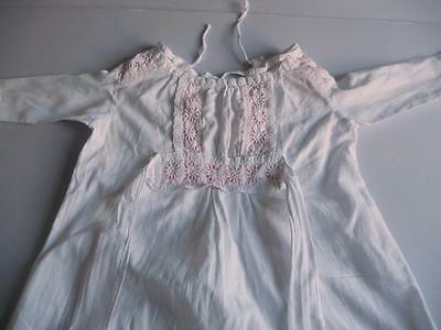 Lovely Vintage Young Girls Cotton? Nightdress, Broderie Anglais Cuffs, Inlay etc