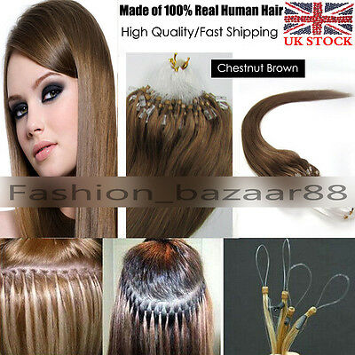 """18"""" Full Head 200s/100g 100% Real Remy Human Hair Extensions Micro Loop Beads #8"""
