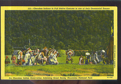 Cherokee Indians in Full Native Costume in one of their Ceremonial Dances