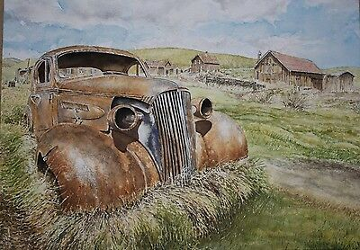 Limited Edition Signed Watercolour print of rustyvintage American car