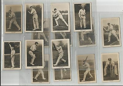 Boys Realm Trade Cards - Famous Cricketers - 15 cards - numbers 1-15 1922