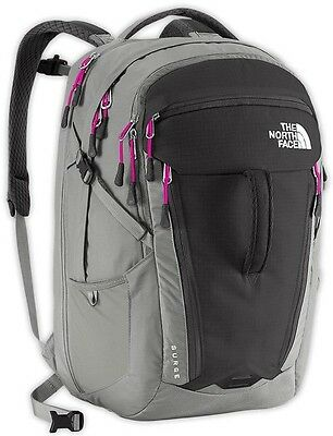 The North Face Surge Backpack: Gray/ Pink