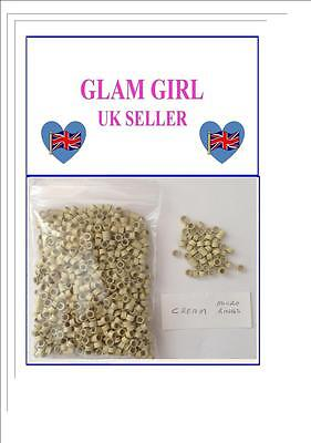 300 PCS CREAM 5mm Silicone Lined Micro Rings/Beads for Hair Extensions