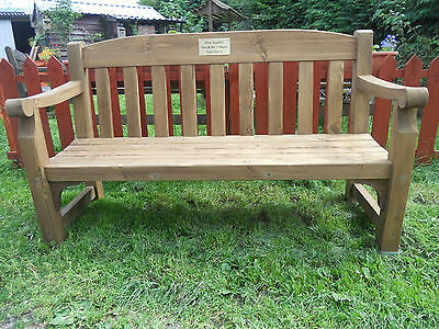 Handmade Memorial Bench.Fully Assembled with engraved brass plaque.3 seater.