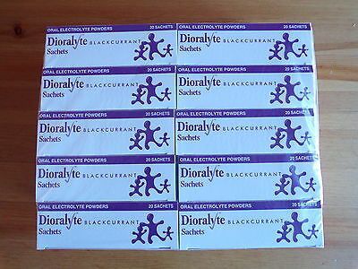 200 Blackcurrant Dioralyte Sachets (10 BOXES OF 20).Expiry 08/2019