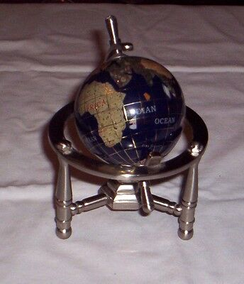 "Rotating Gemstone Globe With Semi Precious Stones On Pewter Stand 5.5"" X 4.25"""
