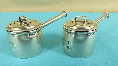 Pair Victorian Sterling Silver Novelty Peppers Cooking Pots Pans Chester 1896
