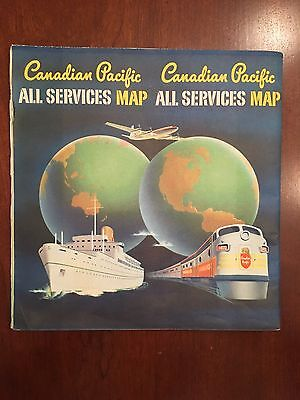 1957 Canadian Pacific All Services Map Airlines Ship Train Transportation