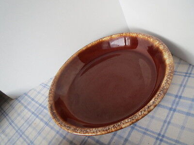 """HULL Brown Drip Oven Proof POTTERY Round PIE PLATE 9.5"""" x 1.5"""""""