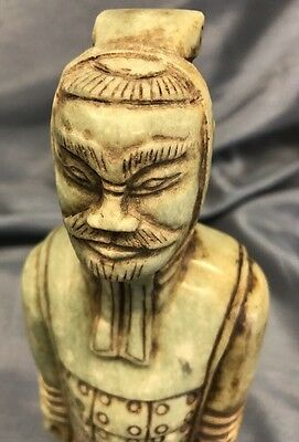 Antique Hand Carved Chinese Jade Temple Guardian Figure 9.25""