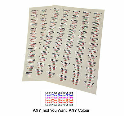 260 or 520 Personalised Return Address Labels ANY 6 LINES OF TEXT, WATERPROOF