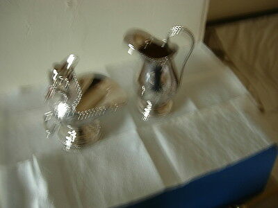 Vintage Rare Matching Silver Plated Hand Engraved Sugar Scuttle & Milk Jug