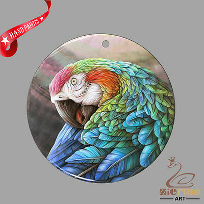 Fashion Necklace Hand Painted Parrot Shell Pendant Zp30 01185