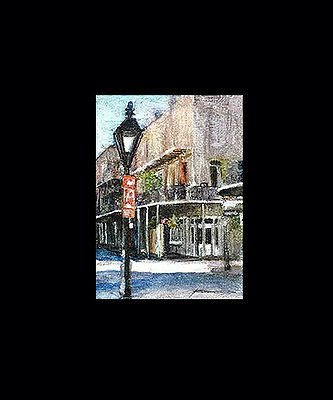 SIGNED HAND PAINTED ACEO of a Scene From the FRENCH QUARTER and NEW ORLEANS