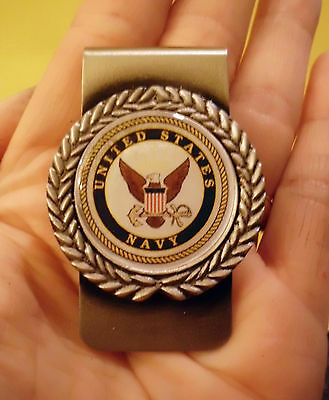 Usn United States Navy Pewter Money Clip Gift  Military Free Shipping For Dad