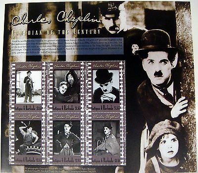2000 Antigua & Barbuda Charlie Chaplin Stamps Sheet Famous People Comedian Movie