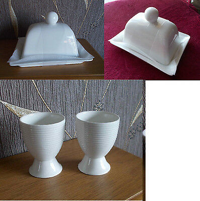 Pretty White Ceramic Butter Dish with Ribbed pattern & two ribbed  eggcups