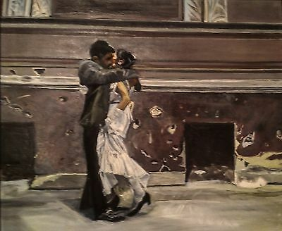 Wood Framed Oil Painting on Canvas of a Dancing Couple