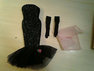 Vintage Reproduction Barbie Solo Spotlight Gown Long Black Gloves Pink Scarf