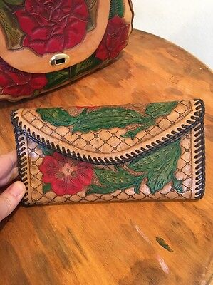 Vintage 70's  Mexican Tooled Leather Red Roses Wallet Coin Purse