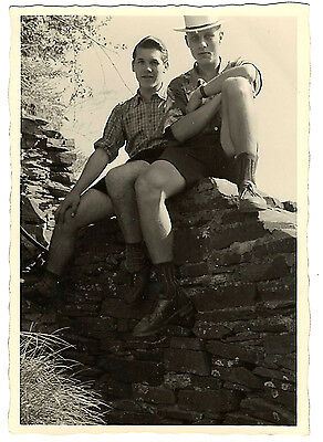 Vintage photo photograph handsome German boys young men in shorts on wall