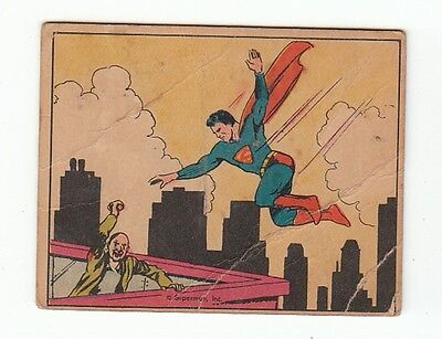 Vintage 1940 Superman Gum Trading Card #14 Maniac at Large Rare Collectible!