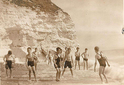 Vintage photo photograph1930s 1st Caterham boy scout troop beach football trunks
