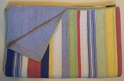 POTTERY BARN KIDS Twin Striped KASEY Quilt PBK Red/Blue/Green/Yellow Reversible!