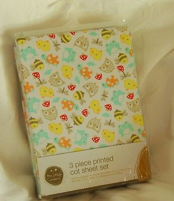 3 piece printed cot sheet set. Tiny little wonders. Brand new and sealed.